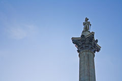 Nelson's Column. Located in Trafalgar Square in London is this monument of Admiral Horatio Nelson, Hero of the Battle of Trafalgar. He succeeded but Royalty Free Stock Photo