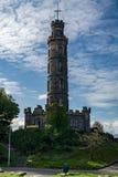Nelson-` s Monument auf Calton-Hügel in Edinburgh, Schottland Stockbild