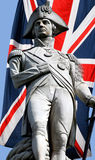 Nelson statue over Union Jack Stock Photo