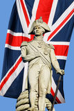 Nelson statue over Union Jack Stock Image