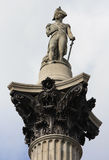 Nelsons Column. Statue of Admiral Nelson on top of Nelson''s Column in Trafalgar Square, London, England Stock Photos