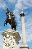 Nelsons column in london. A photo of nelsons, column, in Trafalgar square London stock images