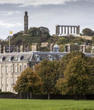 Nelsons and National Monuments from Holyrood Palace grounds Stock Photo