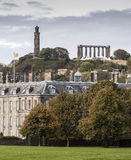 Nelsons and National Monuments from Holyrood Palace grounds Royalty Free Stock Photography