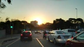 Nelspruit solnedgång över staden fotografering för bildbyråer