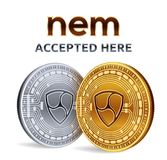 NEM. Accepted sign emblem. Crypto currency. Golden and silver coins with NEM symbol isolated on white background. 3D isometric Phy. Sical coins with text Stock Image