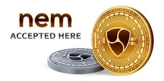 NEM. Accepted sign emblem. Crypto currency. Golden and silver coins with NEM symbol isolated on white background. 3D isometric Phy. Sical coins with text Royalty Free Stock Photos