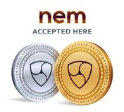 NEM. Accepted sign emblem. Crypto currency. Golden and silver coins with NEM symbol  on white background. 3D isometric Phy. Sical coins with text Accepted Here Stock Photos