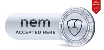 NEM accepted sign emblem. 3D isometric Physical coin with frame and text Accepted Here. Cryptocurrency. Silver coin with NEM symbol isolated on white Stock Photo