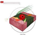 Nem Chua eller vietnames jäst griskött- eller nötköttkorv royaltyfri illustrationer