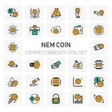 NEM Coin Crypto Currency icons set. For web design and application interface, also useful for infographics. Vector illustration Stock Photos