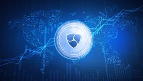 NEM coin on hud background with bull stock chart. Royalty Free Stock Photo