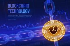 Nem Crypto waluta Blokowy łańcuch 3D isometric Fizyczna złota moneta z wireframe łańcuchem na błękitnym pieniężnym tle Nem Blockc ilustracji