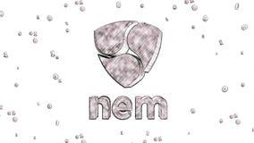 Nem cryptocurrency logo 3D nakreślenia ilustracyjny styl ilustracji
