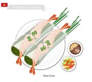 Nem Cuon or Vietnamese Traditional Spring Rolls Stock Photo