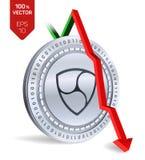 Nem Daling Rode pijl neer Nem daalt de indexclassificatie op uitwisselingsmarkt Crypto munt 3D isometrische Fysieke Zilveren munt Royalty-vrije Stock Foto's