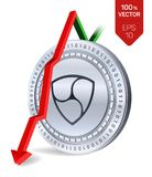 Nem Daling Rode pijl neer Nem daalt de indexclassificatie op uitwisselingsmarkt Crypto munt 3D isometrische Fysieke Zilveren munt Stock Afbeeldingen