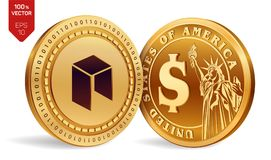 Nem. Dollar coin. 3D isometric Physical coins. Digital currency. Cryptocurrency. Golden coins with Nem and Dollar symbol. On white background. Vector Stock Photography