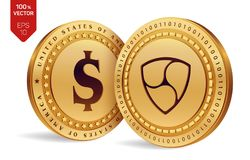 Nem. Dollar coin. 3D isometric Physical coins. Digital currency. Cryptocurrency. Golden coins with Nem and Dollar symbol. Isolated on white background. Vector Royalty Free Stock Photo