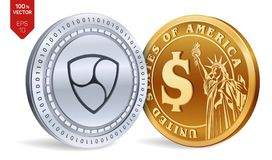 Nem. Dollar coin. 3D isometric Physical coins. Digital currency. Cryptocurrency. Golden and silver coins with Nem and Dollar symbo. L  on white background Stock Images