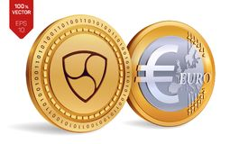 Nem. Euro. 3D isometric Physical coins. Digital currency. Cryptocurrency. Golden coins with Nem and Euro symbol  on white. Background. Vector illustration Stock Image