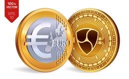 Nem Euro isometriska mynt för läkarundersökning 3D Digital valuta Cryptocurrency Guld- mynt med Nem och eurosymbol som isoleras p royaltyfri illustrationer