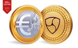 Nem Euro- moedas 3D físicas isométricas Moeda de Digitas Cryptocurrency Moedas douradas com símbolo Nem e do Euro isoladas no bra Fotografia de Stock Royalty Free