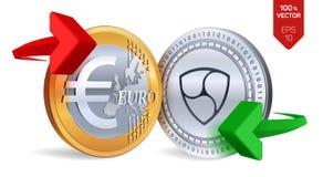 Nem Euro wymiana walut Nem menniczy euro Cryptocurrency Złote i srebne monety z Nem i Euro symbol z zielenią i czerwienią Zdjęcia Stock