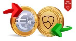 Nem Euro wymiana walut Nem menniczy euro Cryptocurrency Złote monety z Nem i Euro symbol z strzała zielonymi i czerwonymi 3d Zdjęcie Stock
