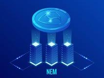 NEM exploração agrícola isométrica da mineração de Cryptocurrency Tecnologia de Blockchain, cryptocurrency e uma rede digital do  ilustração stock