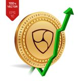 Nem. Growth. Green arrow up. Nem index rating go up on exchange market. Crypto currency. 3D isometric Physical Golden coin isolate. D on white background. Vector Stock Photos