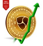 Nem. Growth. Green arrow up. Nem index rating go up on exchange market. Crypto currency. 3D isometric Physical Golden coin isolate. D on white background. Vector Stock Image