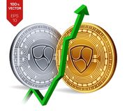 Nem. Growth. Green arrow up. Nem index rating go up on exchange market. Crypto currency. 3D isometric Physical Golden. And silver coins isolated on white Stock Photography