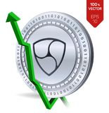 Nem. Growth. Green arrow up. Nem index rating go up on exchange market. Crypto currency. 3D isometric Physical Silver coin isolate. D on white background. Vector Royalty Free Stock Photography