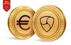 Nem menniczy euro 3D badania lekarskiego isometric monety Cyfrowej waluta Cryptocurrency Złote monety z Nem i Euro symbol odizolo Obraz Stock