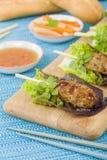 Nem Nuong Xa - Vietnamese fijngehakte varkensvleesworsten Royalty-vrije Stock Foto's