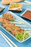 Nem Nuong Xa - Vietnamese fijngehakte varkensvleesworsten Stock Foto's