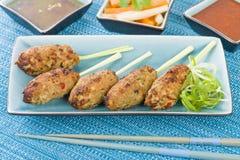 Nem Nuong Xa - Vietnamese fijngehakte varkensvleesworsten Royalty-vrije Stock Foto