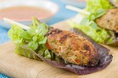 Nem Nuong Xa - Vietnamese minced pork sausages Royalty Free Stock Images