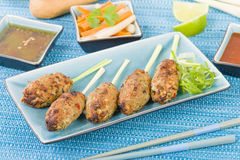 Nem Nuong Xa - Vietnamese minced pork sausages Royalty Free Stock Image
