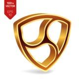 Nem symbol. 3D isometric golden Nem Sign. Digital currency.. Cryptocurrency. Vector illustration Stock Photo