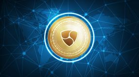 NEM symbol on futuristic hud banner. NEM symbol on futuristic hud polygon background with world map and blockchain peer to peer network. Global cryptocurrency Royalty Free Stock Images