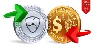 Nem till dollarvalutautbytet Neo härlig vektor för myntdollarillustration Cryptocurrency Guld- och silvermynt med Nem och dollars Royaltyfri Illustrationer