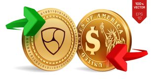 Nem to dollar currency exchange. Nem. Dollar coin. Cryptocurrency. Golden coins with Nem and Dollar symbol with green and red arro. Ws. 3D isometric Physical Stock Image