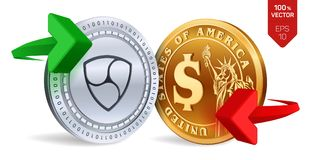 Nem to dollar currency exchange. Neo. Dollar coin. Cryptocurrency. Golden and silver coins with Nem and Dollar symbol with green a. Nd red arrows. 3D isometric Royalty Free Stock Image