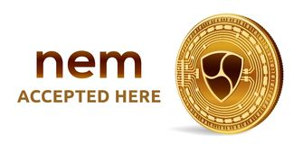 Nem Toegelaten tekenembleem Crypto munt Gouden die muntstuk met Nem symbool op witte achtergrond wordt geïsoleerd 3D isometrisch  Stock Foto's