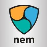 NEM van de criptomunt van XEM blockchain het vectorembleem Stock Afbeeldingen