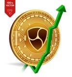 Nem wzrost zieleń strzała zieleń Nem iść up na wekslowym rynku wskaźnik ocena Crypto waluta 3D isometric Fizyczna Złota moneta od ilustracji