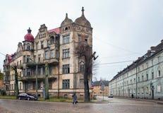 Neman, región de Kaliningrado, la casa en la orilla del río Foto de archivo libre de regalías