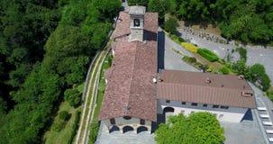 Nembro, Aerial shot of the Shrine named Madonna dello Zuccarello stock video footage